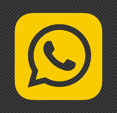 HD Yellow Outline Whatsapp Whats App Square Logo Icon PNG ...