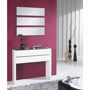Meuble D Entrée Blanc : meuble d 39 entr e blanc laqu miroirs nosila univers petits meubles ~ Teatrodelosmanantiales.com Idées de Décoration