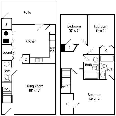 3 bedroom townhouse floor plans with garage