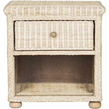 Wicker Nightstand White by Safavieh Adira Wicker One Drawer Nightstand White