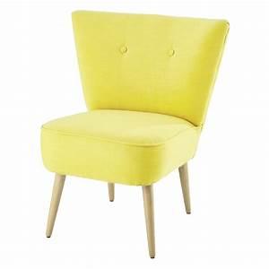 Petit Fauteuil Jaune : fauteuil vintage en coton jaune scandinave maisons du monde ~ Teatrodelosmanantiales.com Idées de Décoration