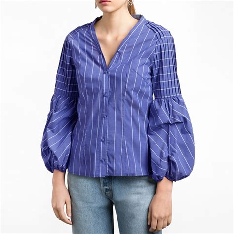 womens blue striped v neck balloon sleeve top button front shirt fashion blouse ebay