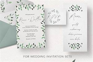watercolor foliage design set With wedding invitation design tool