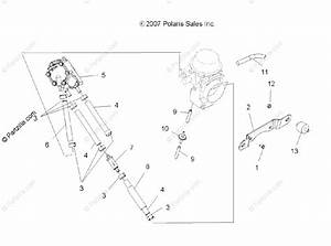 Polaris Atv 2009 Oem Parts Diagram For Engine  Carburetor Mounting  U0026 Fuel Pump  U0026 Lines