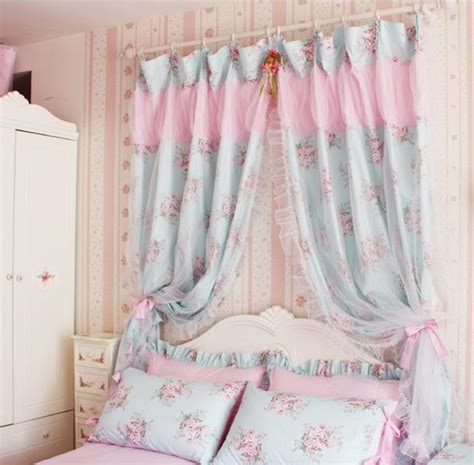 2 of shabby princess chic cottage floral blue curtain