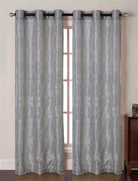 pair of silver faux silk window curtain panels w grommets