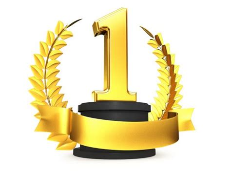 Golden Trophy With Number One Position Stock Photo