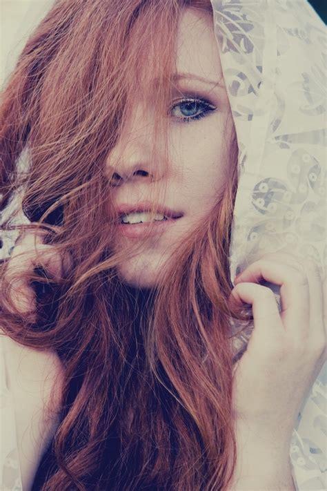 Beautiful Girl Red Hair Blue Eyes Long Hair Taken By