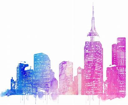 Skyline Colorful Cities Drawing Picsart Watercolor Architecture