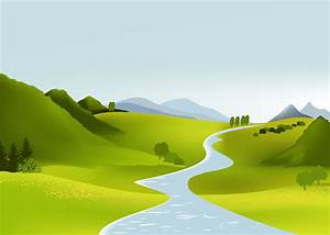Cute cartoon landscape vector Free Vector / 4Vector