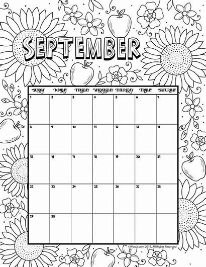 Calendar Coloring Printable September Pages August Blank