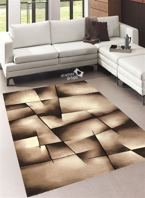 tapis salon design brillance ultimate marron de la collection unamourdetapis