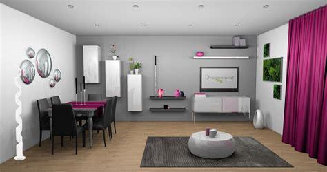 deco salon mur gris  blanc touche de couleur fushia