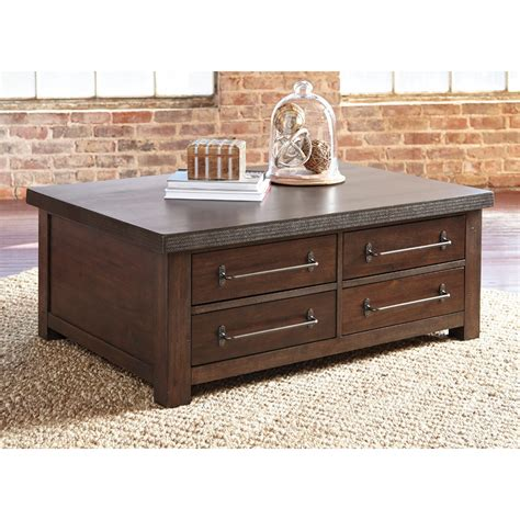 Convenience concepts 43 in clear silver large rectangle glass coffee table with drawers u12 191 the home depot. Starmore Brown Rectangular Cocktail Table With Storage - Shop for Affordable Home Furniture ...