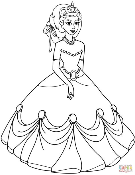 princess  ball gown dress coloring page  printable