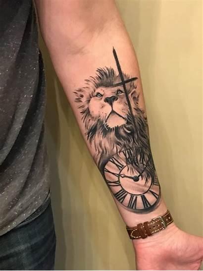 Lion Tattoo Tattoos Cross Forearm Clock Boney