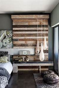 Add design texture with reclaimed wood walls lamps plus