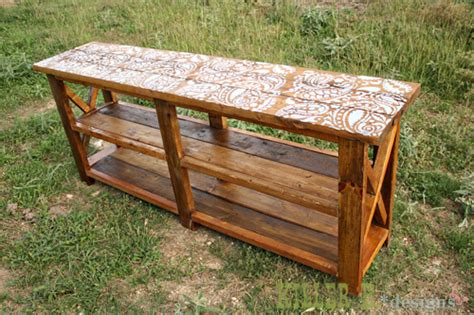 ana white reclaimed stenciled rustic  console diy
