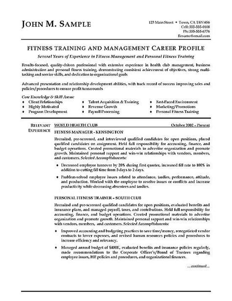 Fitness Resume by Fitness Trainer Resume Exle Best Resume Exles Ideas