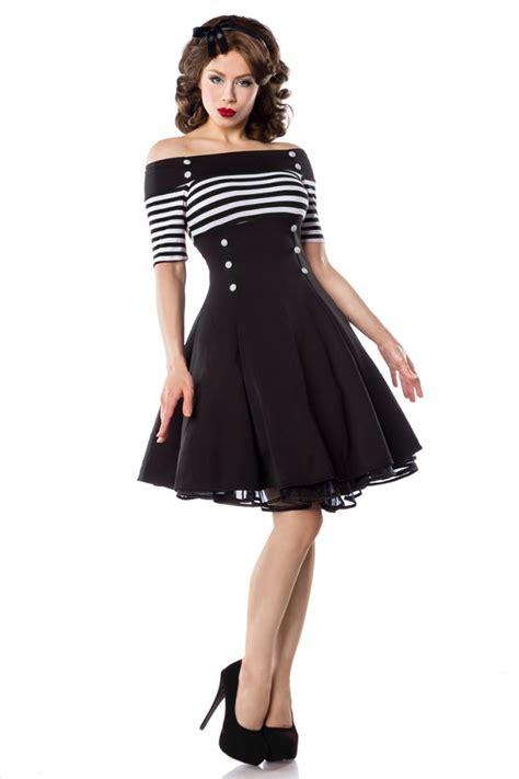 rockabilly kleid mit ärmeln sailor rockabilly kleid mit streifen und kn 246 pfen schwarz