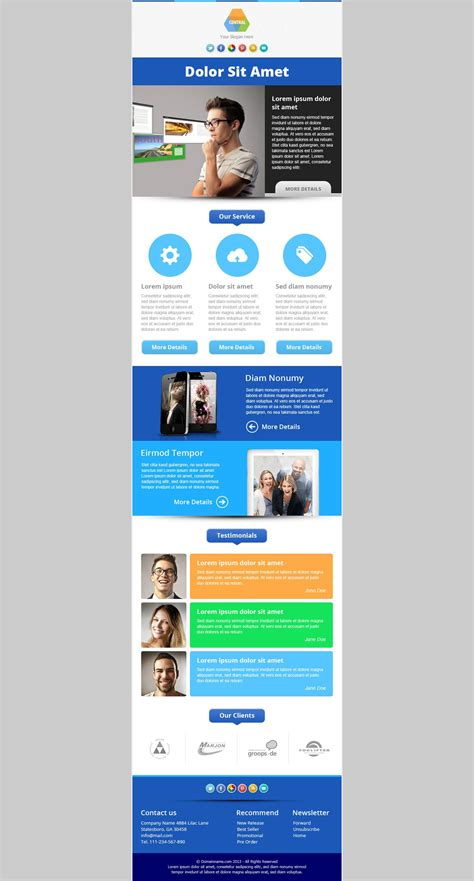 central responsive email newsletter template marketing