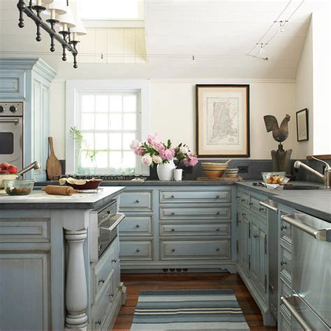 distressed gray kitchen cabinets distressed kitchen cabinets cottage kitchen bhg