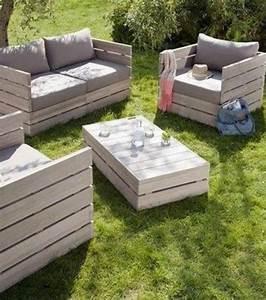 salon de jardin en palettes en bois photo salon jardin With meuble de jardin avec palette en bois
