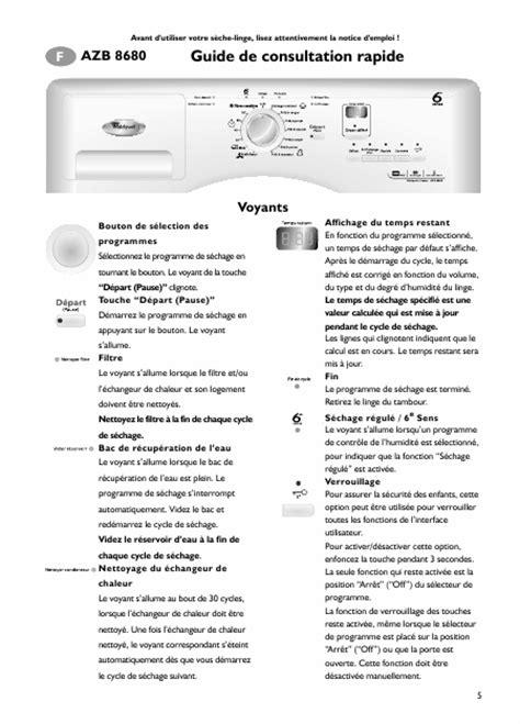 mode d emploi seche linge whirlpool 28 images whirlpool azb 8680 azb8680 mode d emploi