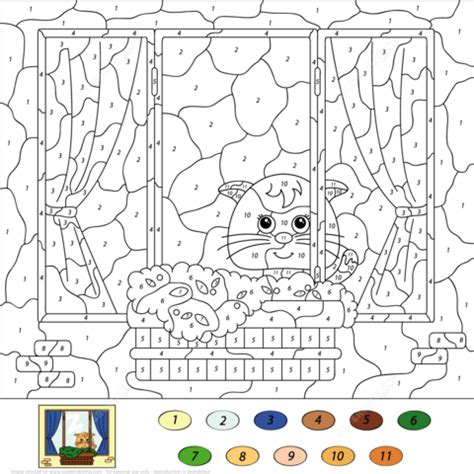 cat color  number  printable coloring pages