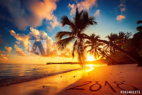 Happy New Year 2018 Concept, Lettering On The Beach. Sea