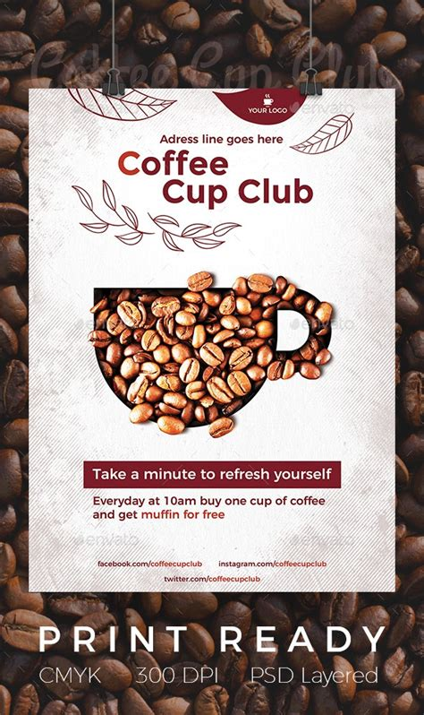 coffee cup club flyer  luckybear graphicriver