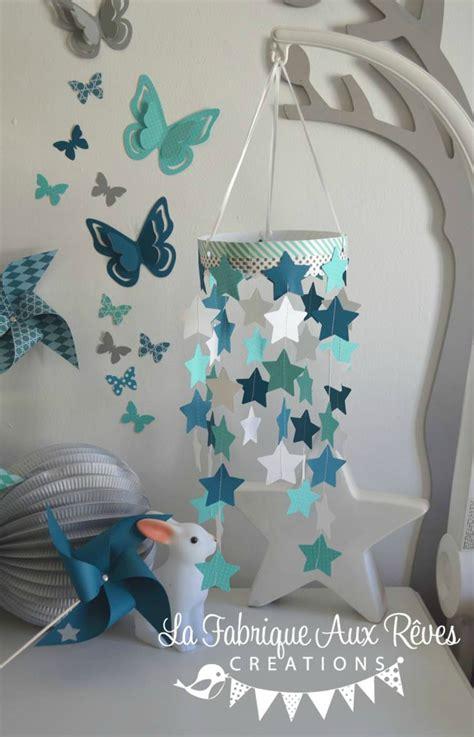 chambre bébé etoile mobile étoiles bébé garçon turquoise caraïbe pétrole blanc