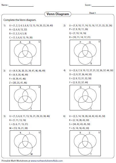 Venn Diagram Math Problems Worksheet