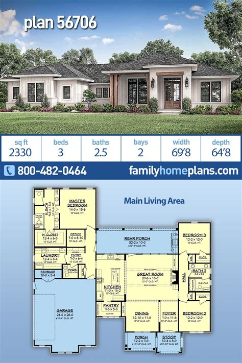 Ranch Style House Plan 56706 with 3 Bed 3 Bath 2 Car Garage