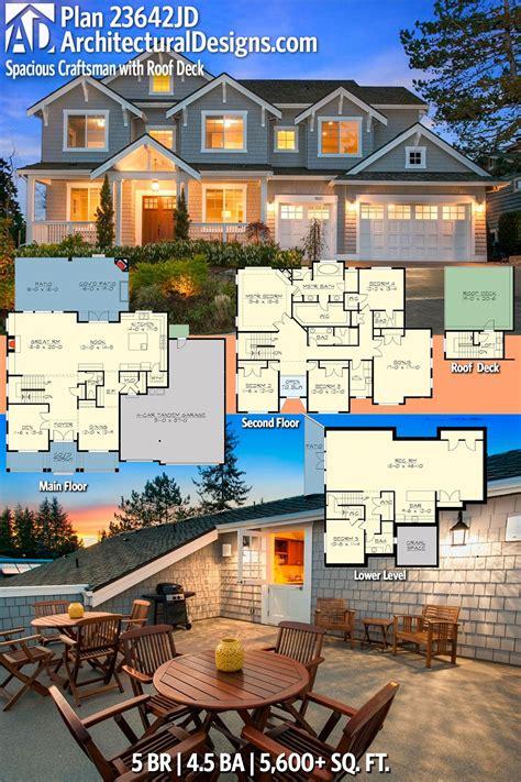 Plan 23642JD: Spacious Craftsman with Roof Deck