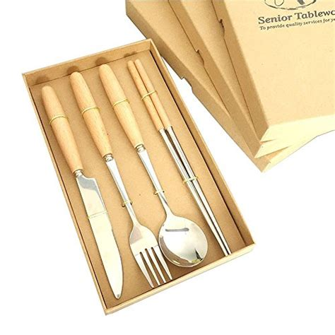 korean dinnerware silver flatware stainless steel amazon handle wood piece plated french