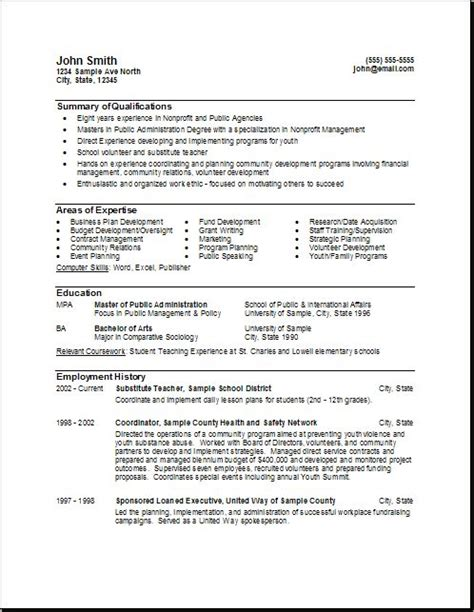 Resumes For Government Exles by Government Resume Format Http Www Resumecareer Info