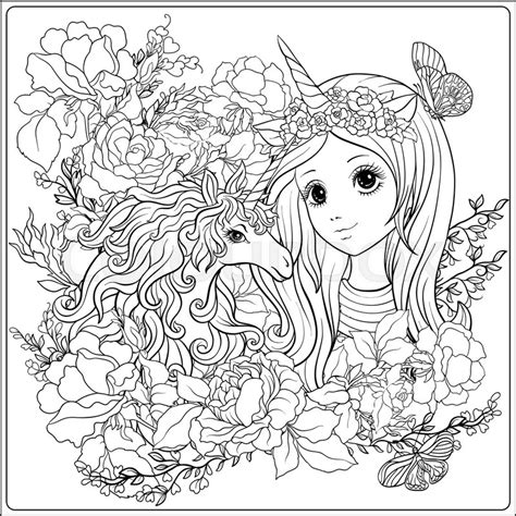 cute girl  unicorn  roses garden stock vector