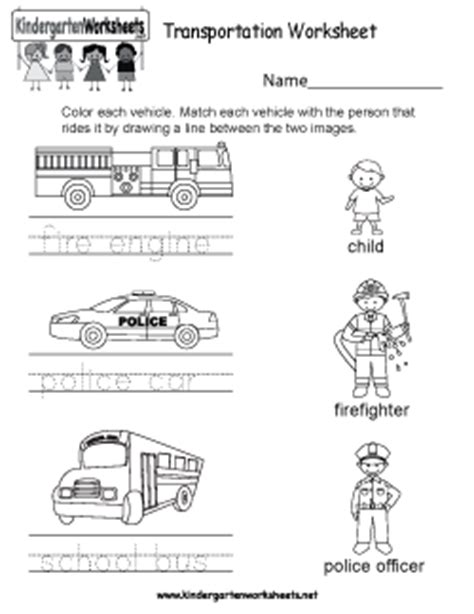 free kindergarten social studies worksheets learning 821 | transportation worksheet
