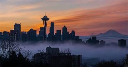 Seattle Sunrise Skyline Fog Loop Foggy Above