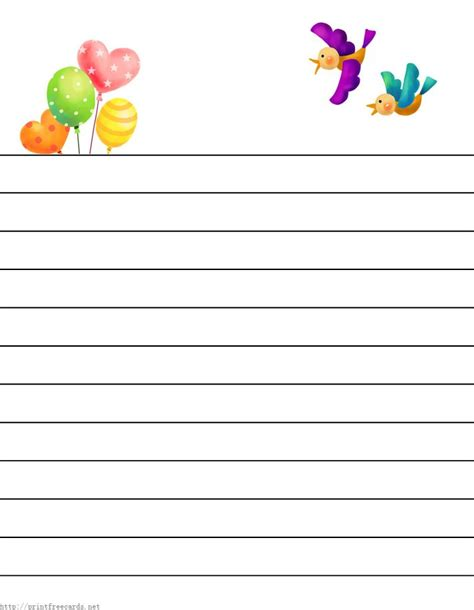 printable kids stationery  regular lined writing