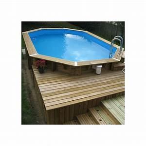 piscine bois ocea ubbink 355x550cm h120cm liner bleu sable With attractive prix liner piscine hors sol octogonale 6 piscine bois octogonale semi enterree