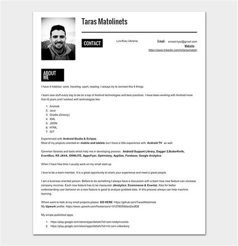 Developer Resume Template by Android Developer Resume Template 21 For Senior
