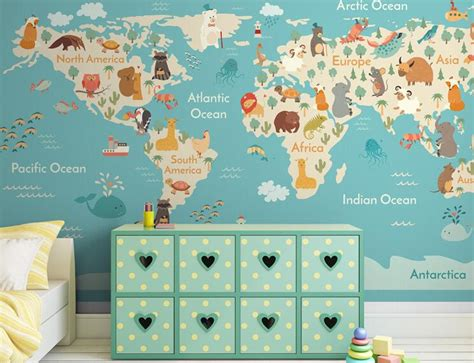 D World Map Wall Paper Large Photo Mural Wallpapers Roll