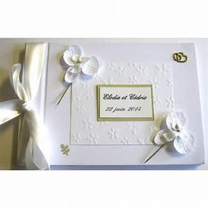 Livre D Or Mariage Champetre : livre d 39 or mariage or et orchid es blanches atelier du ~ Dode.kayakingforconservation.com Idées de Décoration