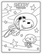 Coloring Peanuts Sheets Sheet Snoopy Space sketch template