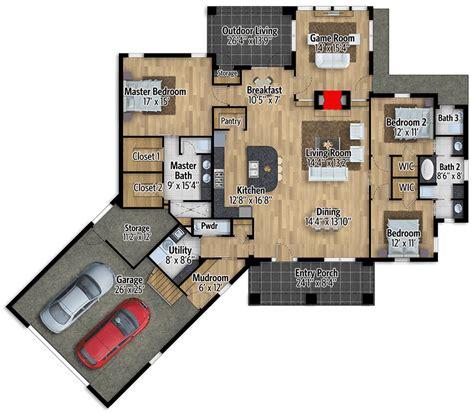 split bedroom craftsman house plan  game room ly architectural designs house plans