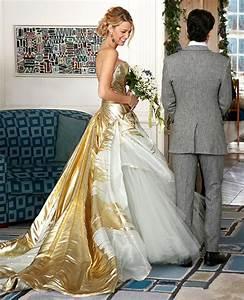 blake livelys stunning gold wedding dress With serena van der woodsen wedding dress