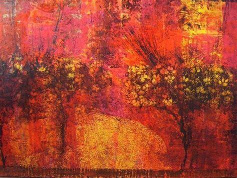 cuadro abstracto pintado al oleo colores calidos  vivos