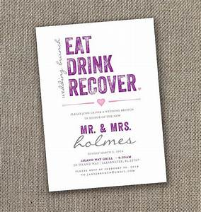eat drink recover wedding brunch invitation digital With 3 day wedding invitation wording